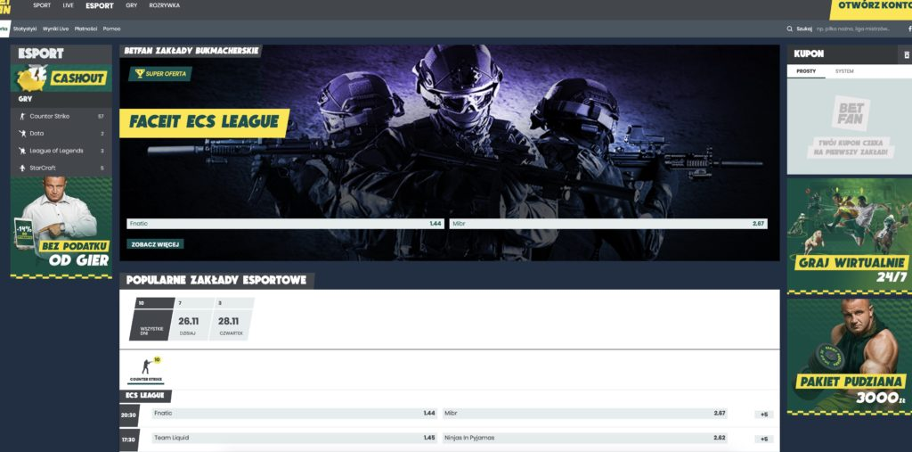 Bukmacher betfan esport online